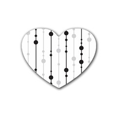 Black and white elegant pattern Rubber Coaster (Heart)
