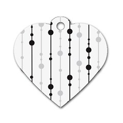 Black and white elegant pattern Dog Tag Heart (One Side)