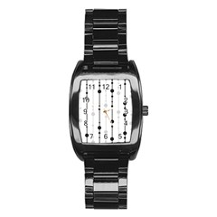 Black and white elegant pattern Stainless Steel Barrel Watch