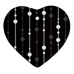 Black and white pattern Heart Ornament (2 Sides)