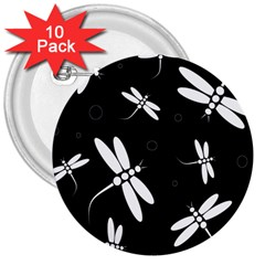 Dragonflies pattern 3  Buttons (10 pack)