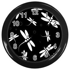 Dragonflies pattern Wall Clocks (Black)
