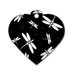 Dragonflies pattern Dog Tag Heart (One Side)