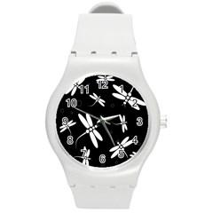 Dragonflies pattern Round Plastic Sport Watch (M)