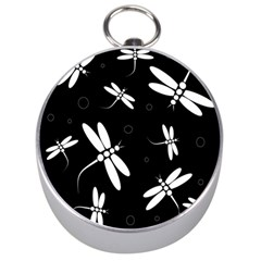 Dragonflies pattern Silver Compasses