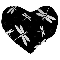 Dragonflies Pattern Large 19  Premium Flano Heart Shape Cushions