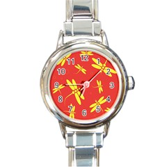 Red and yellow dragonflies pattern Round Italian Charm Watch