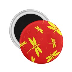 Red and yellow dragonflies pattern 2.25  Magnets