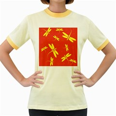 Red and yellow dragonflies pattern Women s Fitted Ringer T-Shirts