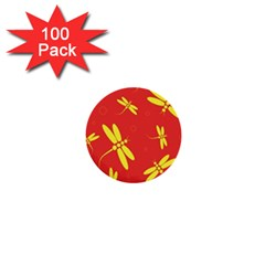 Red and yellow dragonflies pattern 1  Mini Buttons (100 pack)