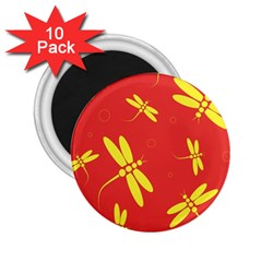 Red and yellow dragonflies pattern 2.25  Magnets (10 pack)