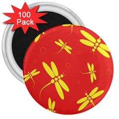 Red and yellow dragonflies pattern 3  Magnets (100 pack)
