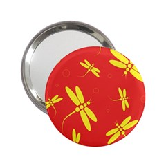 Red and yellow dragonflies pattern 2.25  Handbag Mirrors