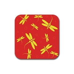 Red and yellow dragonflies pattern Rubber Square Coaster (4 pack)