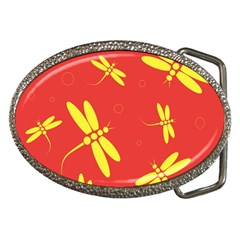 Red and yellow dragonflies pattern Belt Buckles