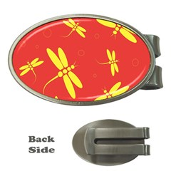 Red and yellow dragonflies pattern Money Clips (Oval)