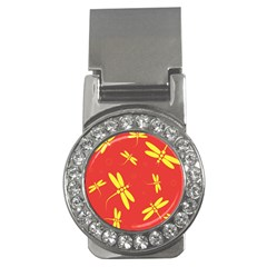 Red and yellow dragonflies pattern Money Clips (CZ)