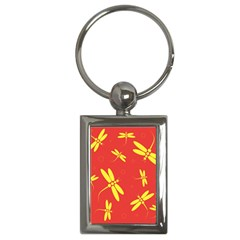 Red and yellow dragonflies pattern Key Chains (Rectangle)