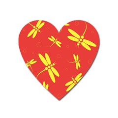 Red and yellow dragonflies pattern Heart Magnet