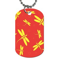 Red and yellow dragonflies pattern Dog Tag (One Side)