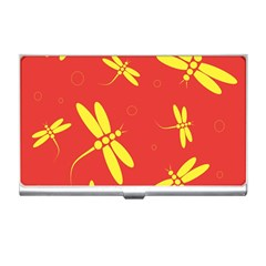 Red and yellow dragonflies pattern Business Card Holders