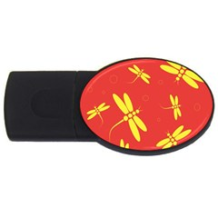 Red and yellow dragonflies pattern USB Flash Drive Oval (1 GB)