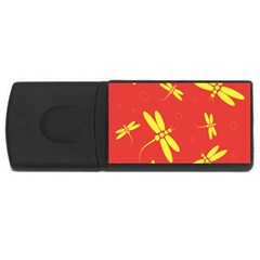 Red and yellow dragonflies pattern USB Flash Drive Rectangular (2 GB)