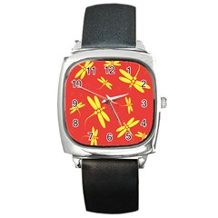 Red and yellow dragonflies pattern Square Metal Watch