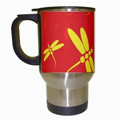 Red and yellow dragonflies pattern Travel Mugs (White)