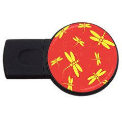 Red and yellow dragonflies pattern USB Flash Drive Round (4 GB)