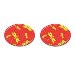 Red and yellow dragonflies pattern Cufflinks (Oval)