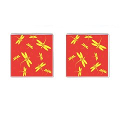 Red and yellow dragonflies pattern Cufflinks (Square)