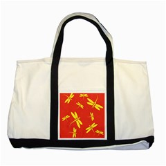 Red and yellow dragonflies pattern Two Tone Tote Bag
