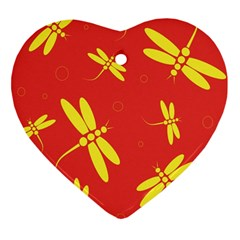 Red and yellow dragonflies pattern Heart Ornament (2 Sides)
