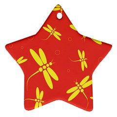 Red and yellow dragonflies pattern Star Ornament (Two Sides)