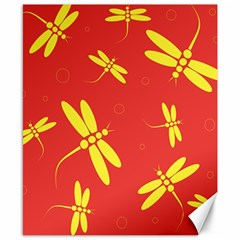Red and yellow dragonflies pattern Canvas 8  x 10