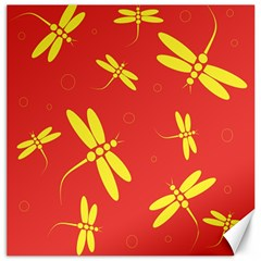 Red and yellow dragonflies pattern Canvas 12  x 12