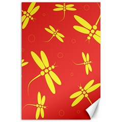 Red and yellow dragonflies pattern Canvas 24  x 36