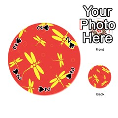 Red and yellow dragonflies pattern Playing Cards 54 (Round)