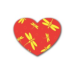Red and yellow dragonflies pattern Heart Coaster (4 pack)