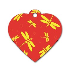 Red and yellow dragonflies pattern Dog Tag Heart (One Side)
