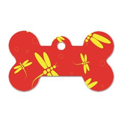 Red and yellow dragonflies pattern Dog Tag Bone (Two Sides)