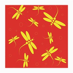 Red and yellow dragonflies pattern Medium Glasses Cloth