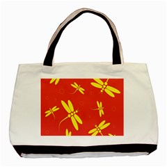 Red and yellow dragonflies pattern Basic Tote Bag (Two Sides)
