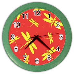 Red and yellow dragonflies pattern Color Wall Clocks