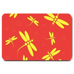 Red and yellow dragonflies pattern Large Doormat