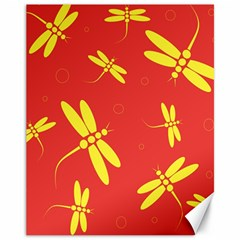 Red and yellow dragonflies pattern Canvas 11  x 14