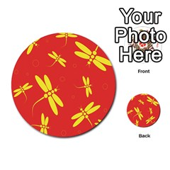 Red and yellow dragonflies pattern Multi-purpose Cards (Round)