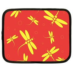 Red and yellow dragonflies pattern Netbook Case (Large)