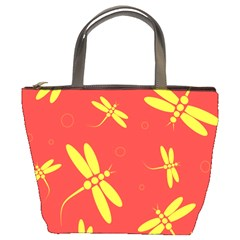Red and yellow dragonflies pattern Bucket Bags